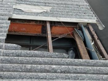 強風でスレート屋根破損により即修繕!!